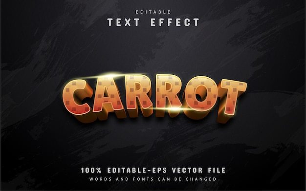 Texto cenoura, efeito de texto