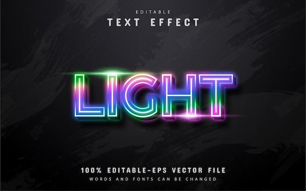 Texto claro, efeito de texto em estilo neon colorido