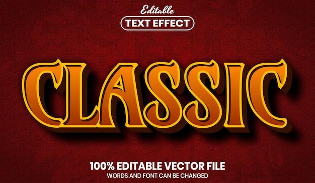 Texto clássico, efeito de texto editável de estilo de fonte