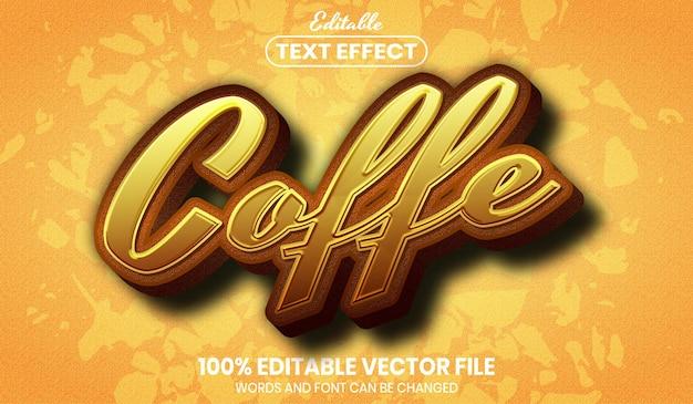 Texto coffe, efeito de texto editável de estilo de fonte