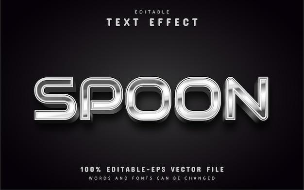 Texto colher, efeito de texto estilo prateado