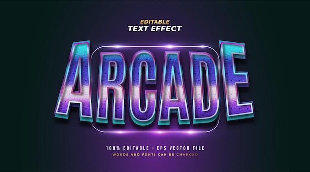 Texto colorido arcade em estilo retro e de jogo com efeito 3d e brilhante. efeito de estilo de texto editável