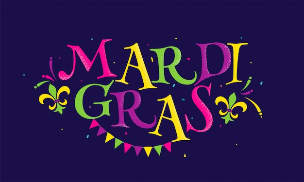 Texto colorido de mradi gras com o símbolo da flor de lis, os confetes e a bandeira da estamenha decorados no roxo.
