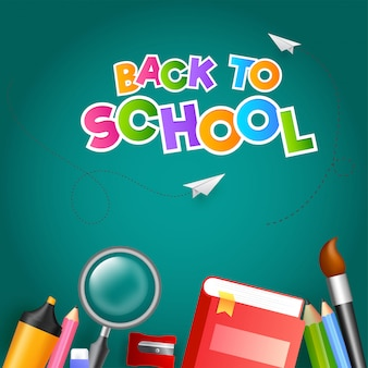 Texto colorido de volta à escola com avião de papel e educação supp