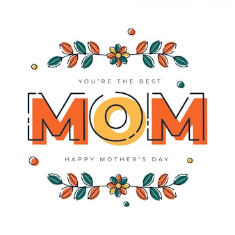 Texto colorido mãe e flores. feliz dia das mães conceito.