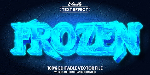 Texto congelado, efeito de texto editável de estilo de fonte
