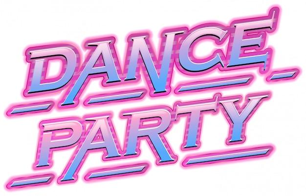Texto cor-de-rosa de néon da festa de dança