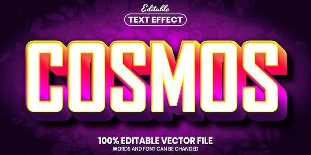 Texto cosmos, efeito de texto editável de estilo de fonte
