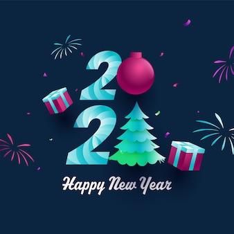 Texto criativo com bugiganga, árvore de natal de gradiente de papel, caixas de presente realista e fogos de artifício sobre fundo azul para feliz ano novo.