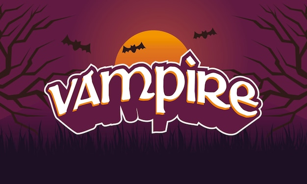 Texto criativo vampiro e plano de fundo