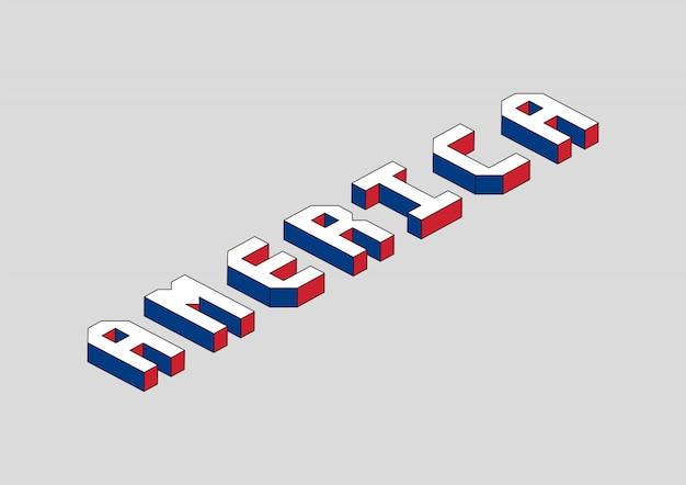 Texto da américa com efeito 3d isométrico
