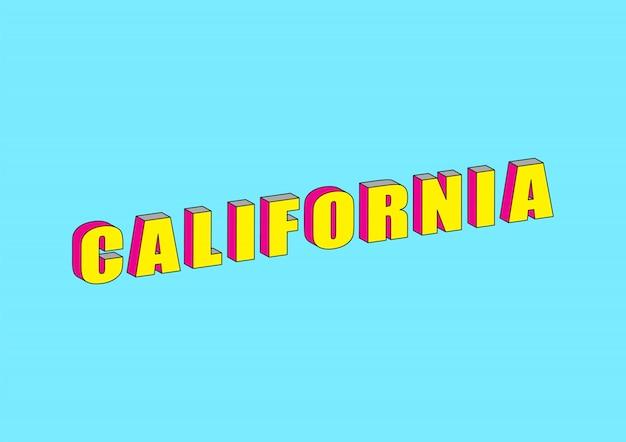 Texto da califórnia com efeito isométrico 3d
