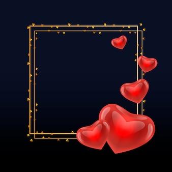 Texto da caligrafia do dia de são valentim do ouro com quadro dourado do anel da grinalda do vetor para o cartão branco luxuoso.