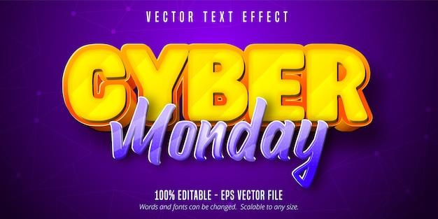 Texto da cyber segunda-feira, efeito de texto editável no estilo desenho animado