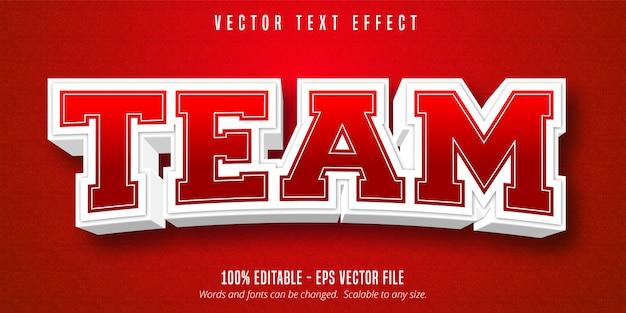 Texto da equipe, efeito de texto editável do estilo esporte