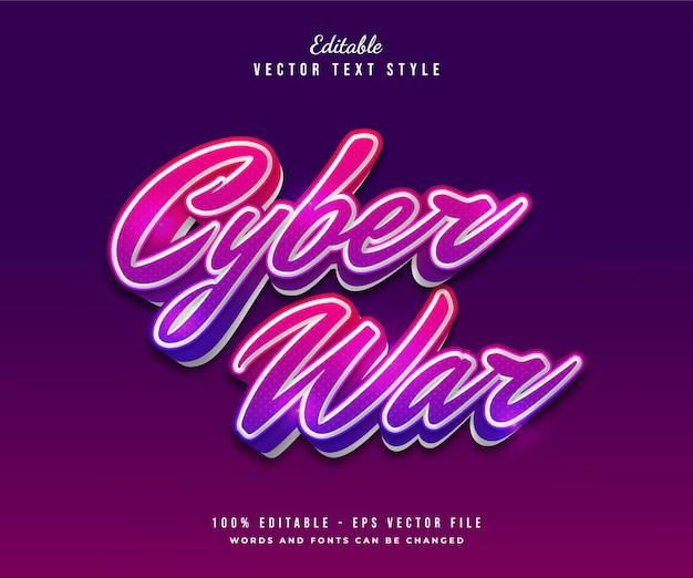 Texto da guerra cibernética em gradiente colorido com efeito em relevo
