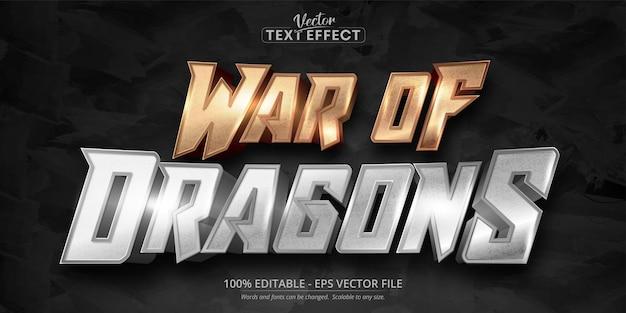 Texto da guerra de dragões, efeito de texto editável no estilo cor de ouro rosa brilhante e prata