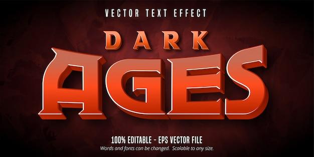 Texto da idade das trevas, efeito de texto editável de estilo de jogo