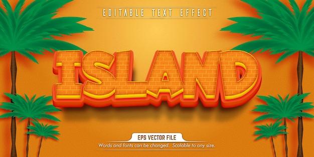 Texto da ilha, efeito de texto editável no estilo desenho animado