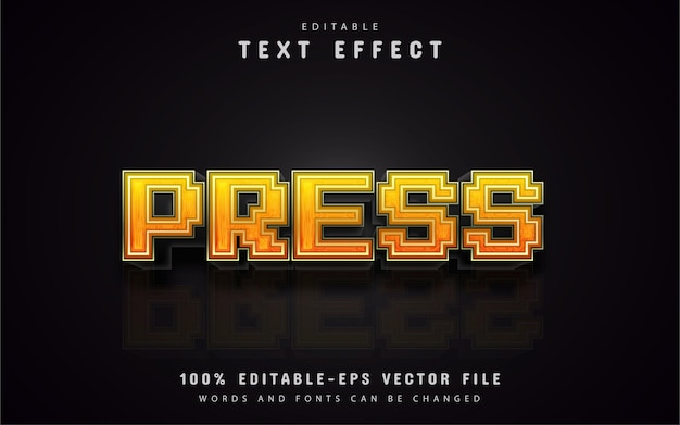 Texto da imprensa, efeito de texto de pixel 3d