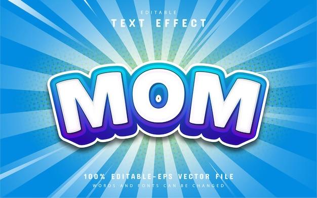 Texto da mãe, efeito de texto estilo desenho animado