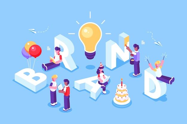 Texto da marca com os empregadores trabalhando no design de marca