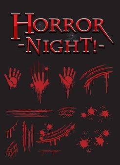 Texto da noite de terror com impressões de mãos ensanguentadas