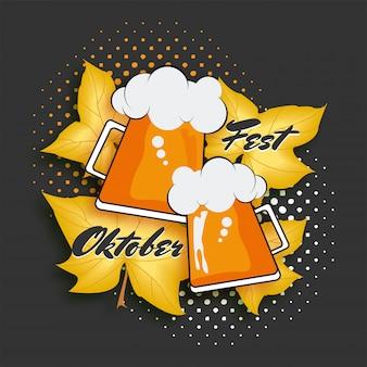 Texto da oktoberfest e duas canecas de cerveja