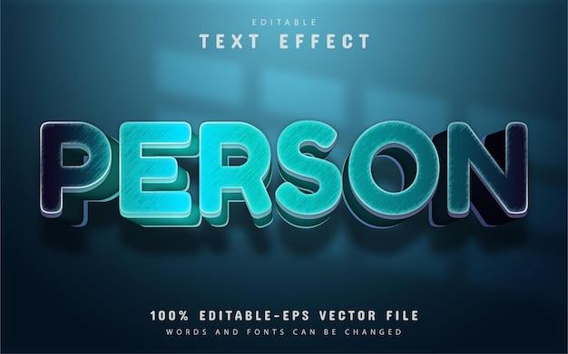 Texto da pessoa, efeito de gradiente azul