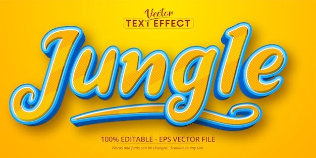 Texto da selva, efeito de texto editável no estilo desenho animado