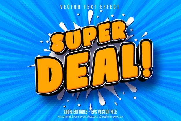 Texto da super oferta, efeito de texto editável de estilo de compra