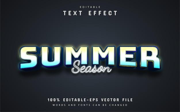 Texto da temporada de verão, efeito de texto estilo neon
