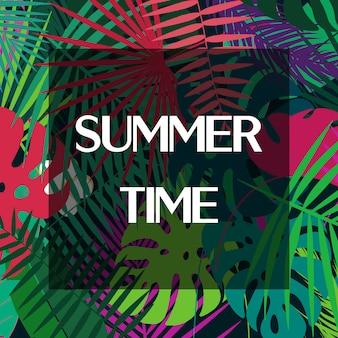 Texto das horas de verão nas folhas de palmeira coloridas.