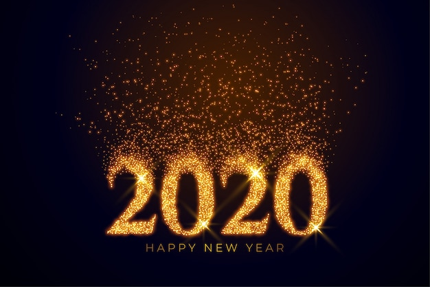Texto de 2020 escrito em brilhos dourados