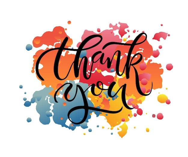 Texto de agradecimento esboçado à mão como emblema e ícone do logotipo de agradecimento pôster de convite