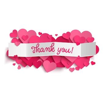 Texto de agradecimento no banner de papel branco e corações rosa