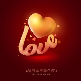 Texto de amor de efeito de ruído com coração de ouro sobre fundo vermelho escuro para conceito de feliz dia dos namorados, o amor está no ar.