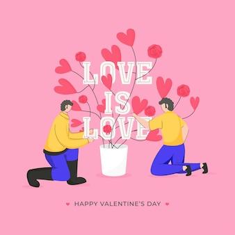 Texto de amor é amor com personagem de desenho animado masculino e vaso de flores com coração