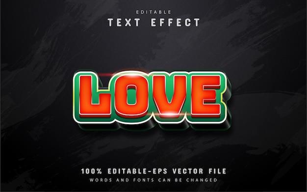 Texto de amor, efeito de texto 3d vermelho
