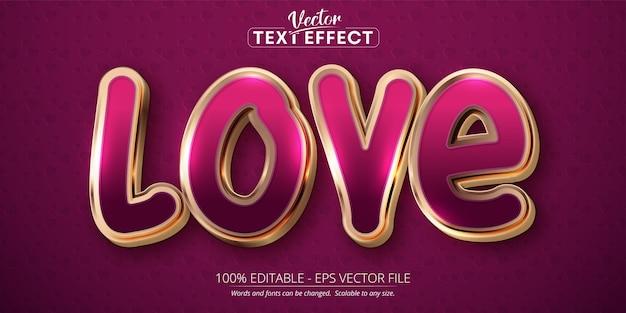 Texto de amor, efeito de texto editável de estilo de cor ouro rosa brilhante em fundo rosa