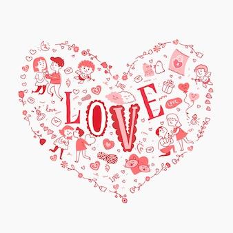 Texto de amor em um coração cheio de rabiscos adoráveis