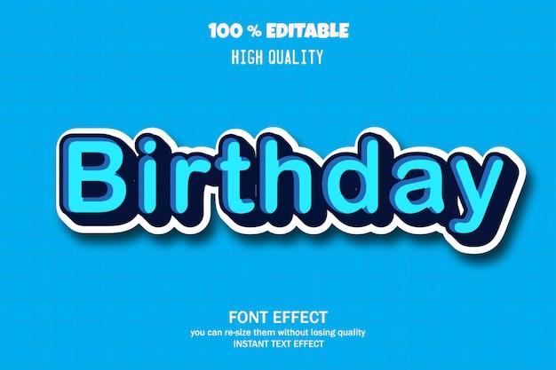 Texto de aniversário, efeito de fonte editável