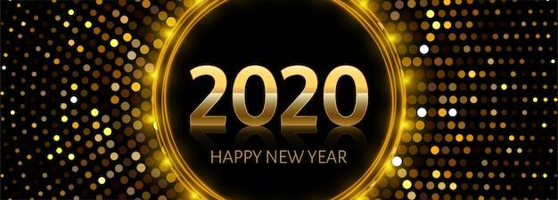 Texto de ano novo de 2020 dourado na brilhante