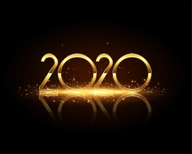 Texto de ano novo de 2020 dourado no cartão preto
