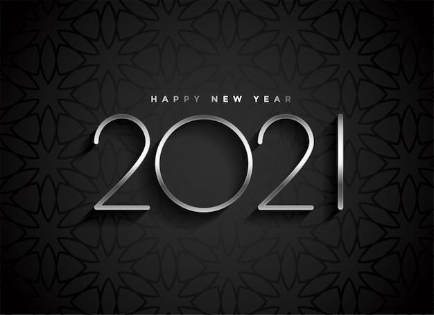 Texto de ano novo em prata 2021 em fundo preto