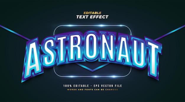 Texto de astronauta azul em estilo retro com efeito brilhante e curvo. efeito de estilo de texto editável