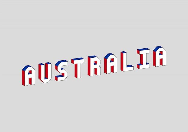 Texto de austrália com efeito isométrico 3d