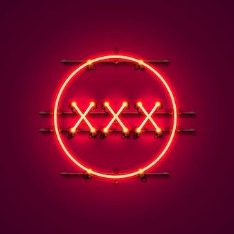Texto de banner de néon xxx no fundo vermelho. ilustração vetorial