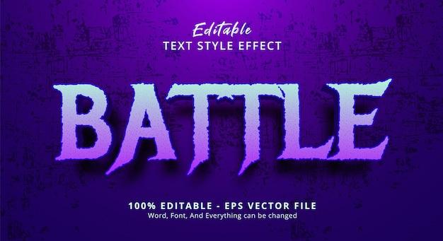 Texto de batalha em efeito de estilo de filme de terror, efeito de texto editável