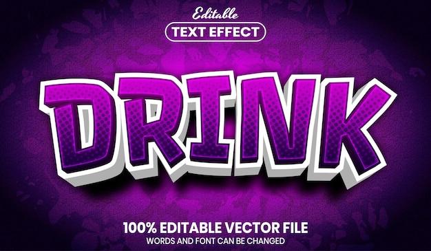 Texto de bebida, efeito de texto editável de estilo de fonte